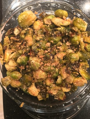 honey garlic roasted brussel sprouts