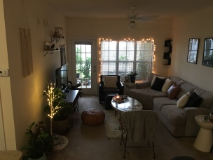 Living Area in Early AM with lights