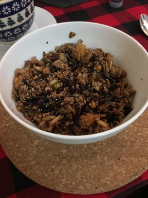 Quinoa Stuffing: quinoa, butternut squash, red onion, dried cranberries, toasted pumpkin seeds, balsamic dressing. Recipe courtesy of Lori, my boyfriend's mother. One of our favorites!